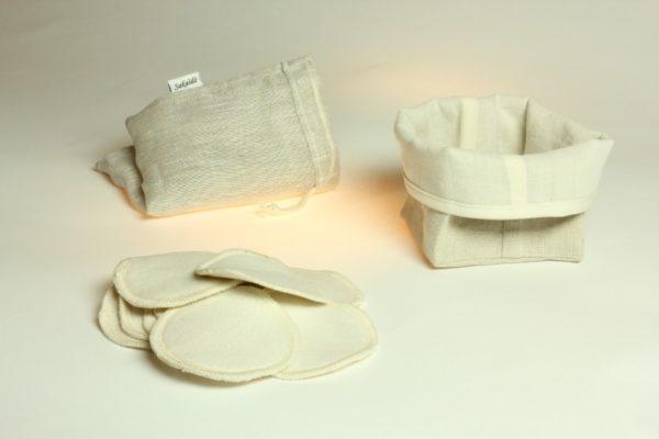 Ensemble de démaquillage réutilisable en lin français et coton biologique blanc