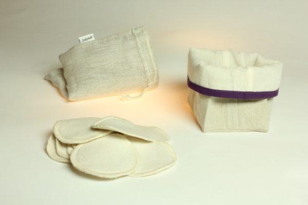 Ensemble de démaquillage réutilisable en lin français et coton biologique violet