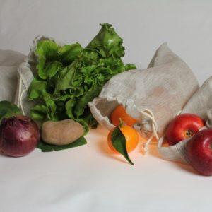 lot de sac à fruits et légumes en voile de lin